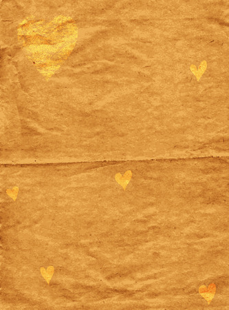 spotty: Old spotty grunge paper with gold hearts (vector)