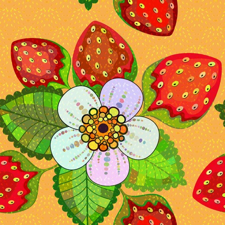 Seamless vivid spring floral pattern with strawberries and flowers   Vector