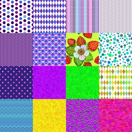Collection 16 colorful geometric and floral seamless patterns    Vector