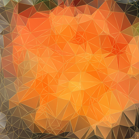Abstract orange background with triangles with golden lines   Vector