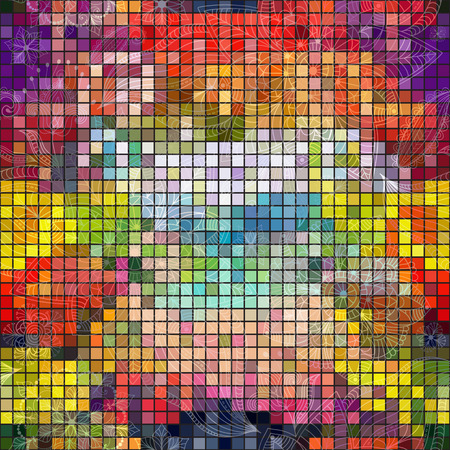 Seamless colorful mosaic checkered background with vintage pattern  Vector