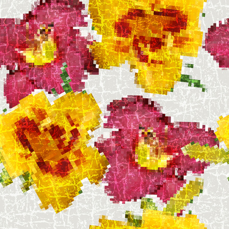 tessellated: Grunge seamless floral mosaic vivid pattern   Illustration