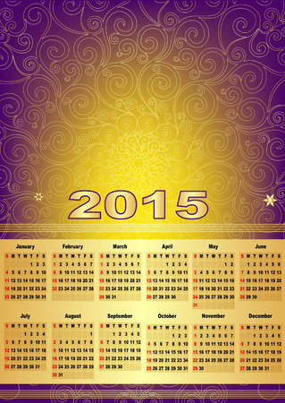 Violet-gold calendar for 2015 (with mesh, vector eps 10) Vector