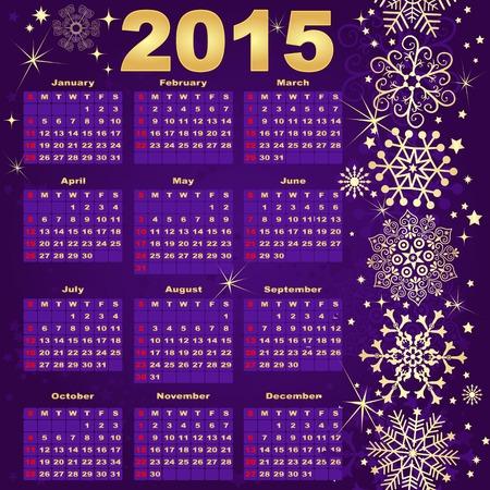 fashion week: 2015 New Year violet-Gold Calendar (vector eps 10) Illustration