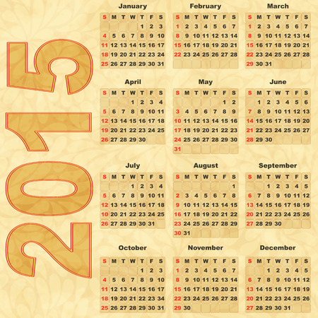 fashion week: Old paper with Calendar 2015