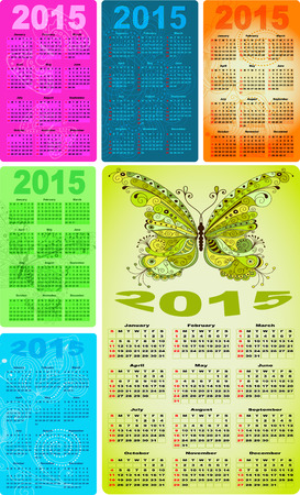 Set colorful pocket calendars for 2015 with vintage pattern and butterflies (vector eps 10) Vector