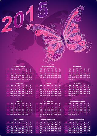 Dark violet pocket calendars for 2015 with vintage butterflies (vector eps 10) Vector