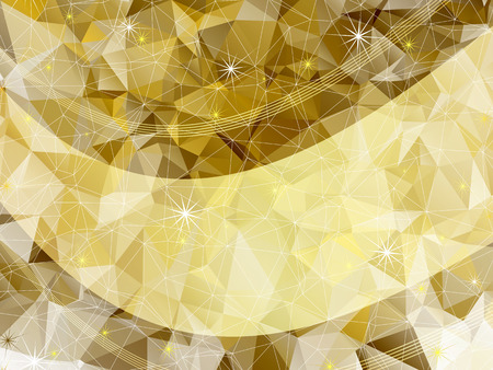 Holiday golden frame with triangles, stars  and translucent gold line (vector EPS 10) Vector