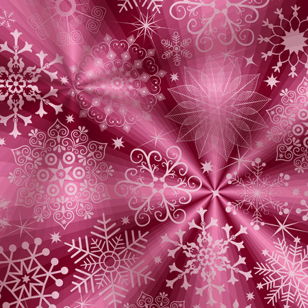 xmas decoration: Christmas purple background with rays and snowflakes