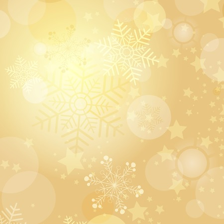 wrapping paper: Christmas gold frame with balls and snowflakes (vector eps 10) Illustration