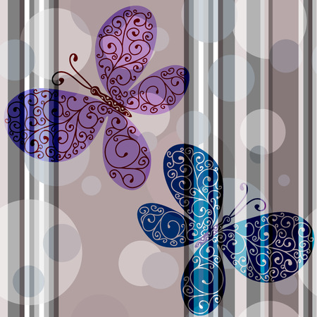 brawn: Pastel striped seamless pattern with lace butterflies and translucent balls