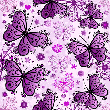 purple butterfly: Spring seamless white pattern with violet butterflies (vector eps 10)