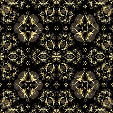 luxurious seamless wallpaper: Gold and  black seamless pattern with arabic ornament