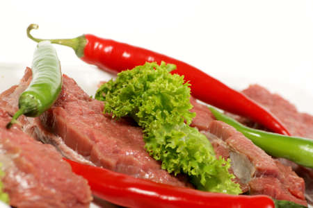 freshly raw beef and vegetables  photo