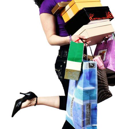 faire les courses: taille-� vue de femme portant sac
