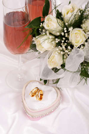 wedding bouquet and champagne