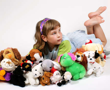 dinky: dinky girl and plushy toys