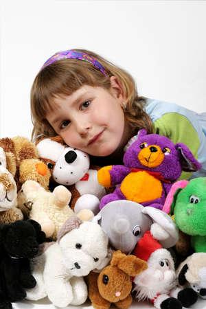 plushy: girl and plushy toys