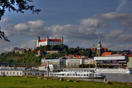 bratislava: Bratislava castle and river Danube