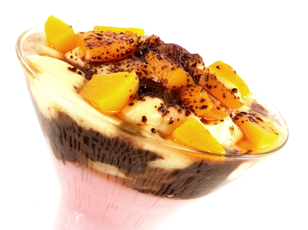 Sweet dessert with pudding and apricots