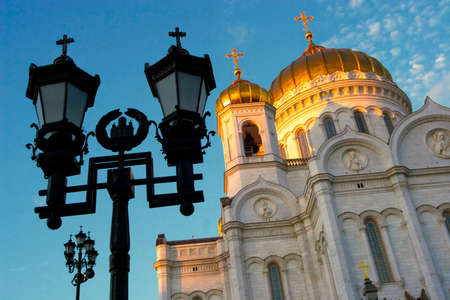 grandeur: Fragment of external furniture of a Christian temple of the Christ of the Savior in Moscow Stock Photo