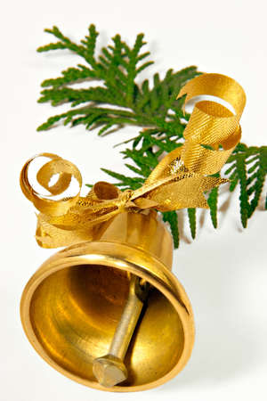 Ringing handbell on a coniferous branch photo