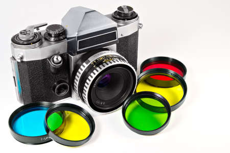 The mechanical SLR and set of photofilters photo