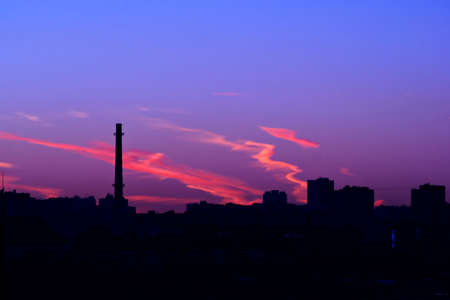 urban decline: Sunset in an industrial zone-cloudless evening Stock Photo