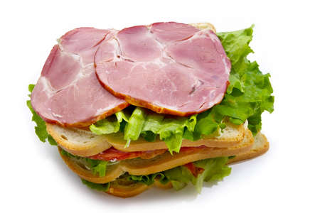 Big sandwich with meat and vegetables photo