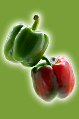 Big green and red  paprika