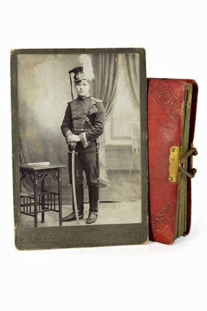 nobleness: The gallant officer in an ancient photo of the beginning of 20 centuries Stock Photo