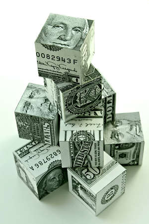 augmentation: Money pyramid-financial concept of accumulation and augmentation of money Stock Photo