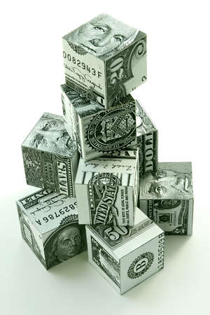 founding: Money pyramid-financial concept of accumulation and augmentation of money Stock Photo
