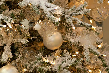 donative: Christmas background-natural pattern from christmas-tree decorations, approaches suits for creation of New Years design Stock Photo