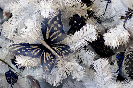Christmas background-natural pattern from christmas-tree decorations, approaches suits for creation of New Years design photo