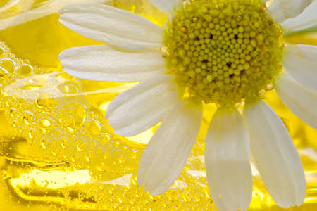 freshening: Foam for a bath with camomile-means for removal of stress and weariness Stock Photo