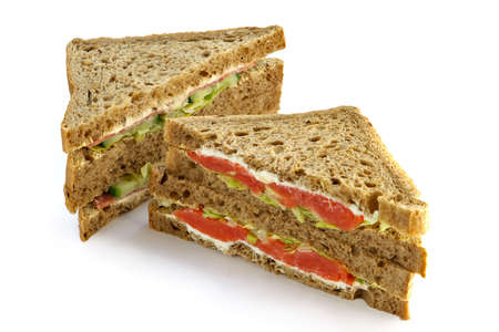 Big sandwich with a salmon, mayonnaise and leaves of green salad Stock Photo - 715713