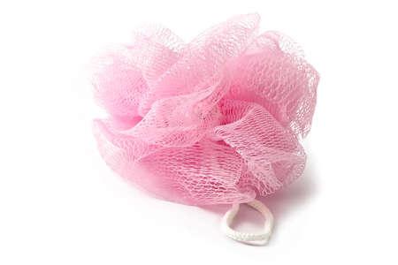 weakening: Soft pink sponge for acceptance of a shower and weakening baths