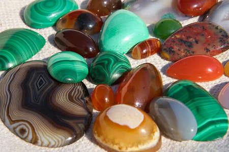 onyx: Colourful semiprecious stones a-cornelian, malachite, onyx