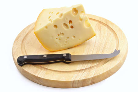 Knife for cheese and a chopping board on white background Stock Photo - 761421