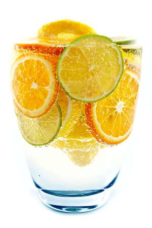 bubble acid: Exotic cocktail from lime, lemon, tangerine, orange-cold a freshening drink