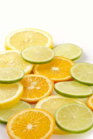 Citron allsorts-lime, lemon, tangerine cut on slices and laid out for preparation of cocktails and soft drinks Stock Photo - 781086
