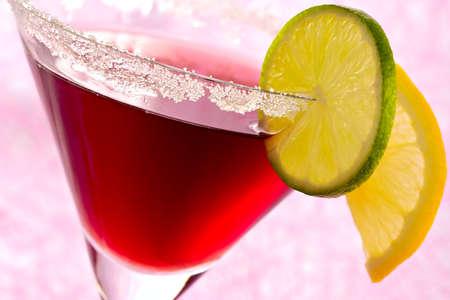 cocktail de fruits: Cocktail de fruits destin�es � rafra�chir l'alcool avec d�cor�es par des segments d'un citron et citron vert