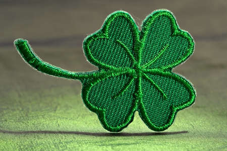 Four leaf green clover-skilful manual silk embroidery Stock Photo - 781116