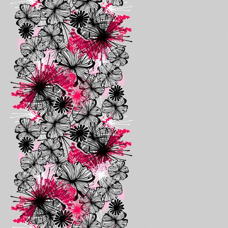 ink painting: Doodle seamless flower ink pattern-model for design of gift packs, patterns fabric, wallpaper, web sites, etc.
