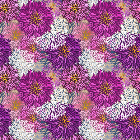 aster flower: Seamless hand-drawn  aster pattern-model for design of gift packs, patterns fabric, wallpaper, web sites, etc.
