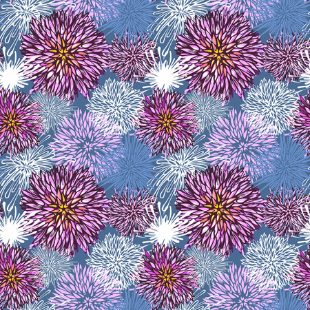 Seamless hand-drawn flower pattern-model for design of gift packs, patterns fabric, wallpaper, web sites, etc. photo