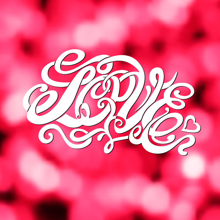 Symbol of love and Valentines day lettering-model for design of gift packs, patterns fabric, wallpaper, web sites, etc. photo