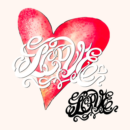Heart symbol of love and Valentines day lettering-model for design of gift packs, patterns fabric, wallpaper, web sites, etc. Vector