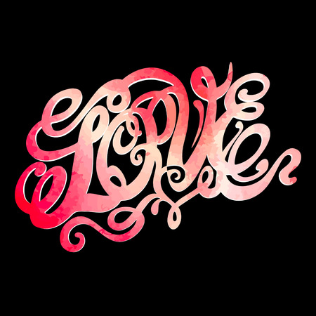 Symbol of love and Valentines day lettering-model for design of gift packs, patterns fabric, wallpaper, web sites, etc. Vector